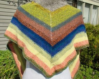 Ladies hand knit shawl, knit wrap, pashmina shawl, pashmina wrap, stole, spring summer wrap, lightweight wrap, striped shawl, triangle shawl