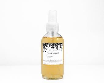 Facial Toner: OLIVE + ALOE - alcohol free aloe toner, sensitive skin, witch hazel natural toner, gentle natural skin care, 2oz or 4oz