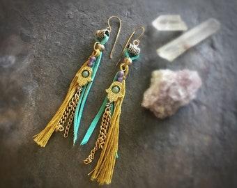 Golden Hamsa Fringy Earrings