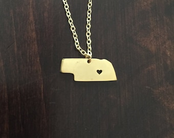 Nebraska Necklace, Nebraska, gold Nebraska necklace, Nebraska pendant, Nebraska jewelry, state necklace, state jewelry, gold necklace
