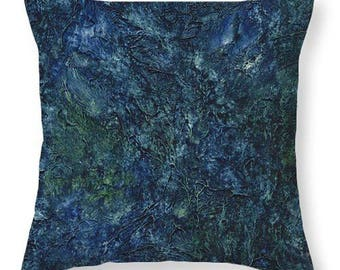 Mother's Day Gift Idea Sea Blue Sea Green Abstract Decorative Pillow
