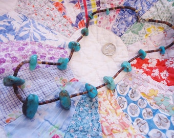 Vintage Southwest/NA Beaded Necklace with Turquoise Nuggets