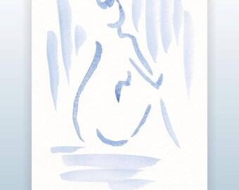 Minimalist watercolor nude. Modern brush strokes sketch. Female nude figure. Woman from back. Blue sketch.