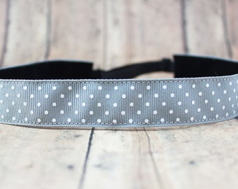 No Slip Headband. Solid Workout Headband. Yoga Headband. Adjustable Headband. Running Headband II grey dots
