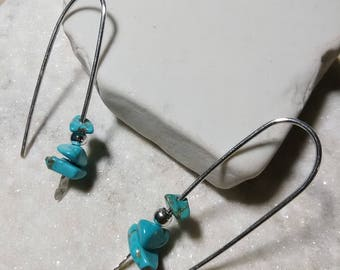 Sterling Silver Wire and Stone Earrings