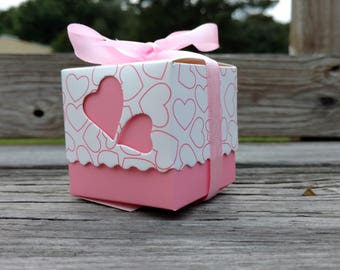 Pink Baby Shower Box, Baby Bump, Pink Baby Favor, Baby Shower Box Favor, FREE Ribbons!
