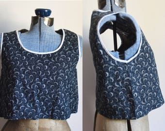 Extra Small / Small - Vintage Fabric Handmade Crop Top