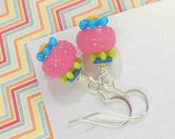 Girls Colorful Earrings   --  Calliope  --  Raspberry Lemonade
