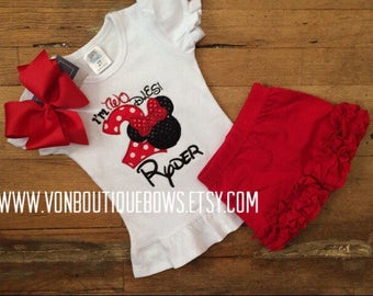 Red mouse bow Personalized Boutique Number Birthday two 2nd flutter Girls Applique Short Long Sleeve Shirt Tank icing shorts outfit