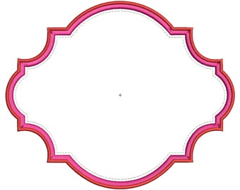 Scallop Monogram Frame Digital Machine Embroidery Applique Design 3 sizes
