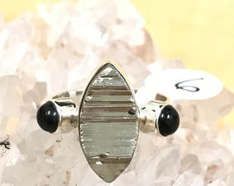 Pyrite/Healer's Gold and Black Onyx Ring, Size 6