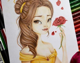 Promarker - A5 - beauty and the beast - art illustration