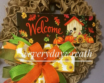 Welcome Fall burlap wreath with festive sunflowers