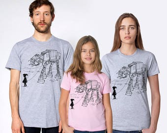 Star wars family matching t-shirt set, ATAT walker print, Father's day gift for dad, family gift combo, mom dad and me, father daughter set