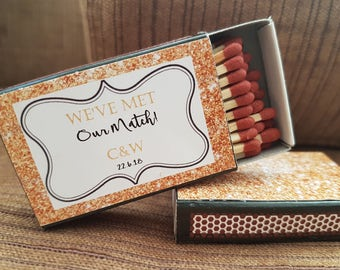 10 x Personalised Favours Matchbox 'We met our Match' Wedding - Matches