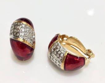 VINTAGE - Red Crystal half hoop clip earrings