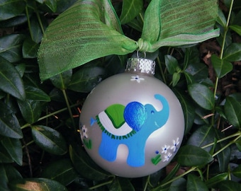 Elephant Ornament  - Personalized for Babys Birth, Birthday or Christmas - Hand painted Ornament, Elephant Baby Shower, Nursery, Circus