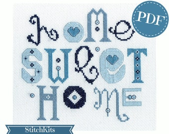 Home Sweet Home, Blue,cross stitch pattern, PDF file