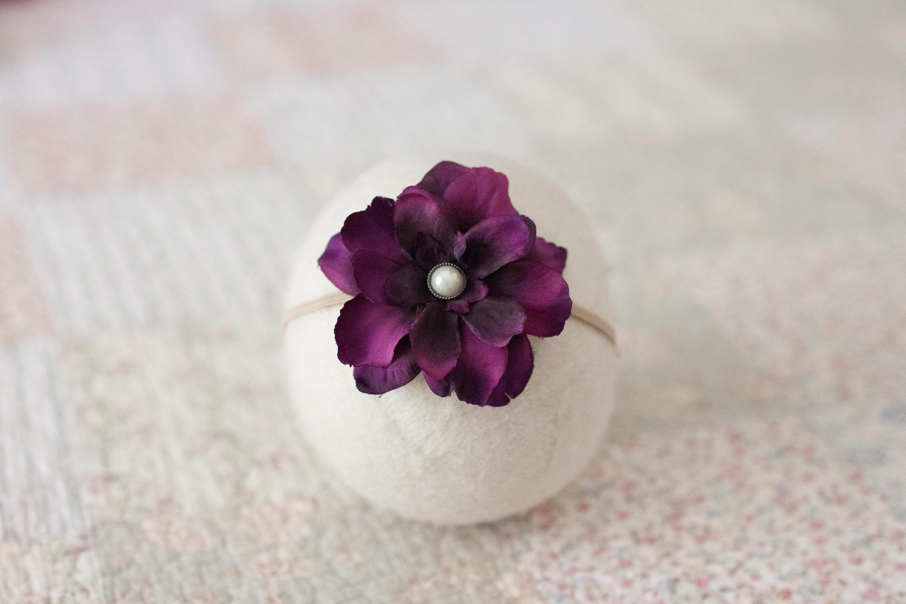 Dark Purple Headband Purple Flower Headband Eggplant Flower