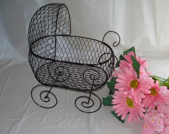 Antique Wire Baby Carriage Pram  - Great for Baby Shower Decorations