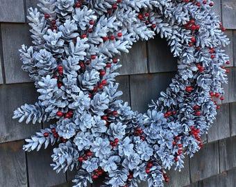 Snow White Winterberry Pinecone Wreath