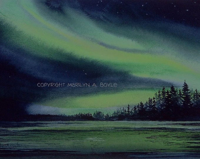 PRINT- AURORA BOREALIS; Northern Lights, Canadian landscape, wall art, lake scene, green and blue color, 7 x 10 inches
