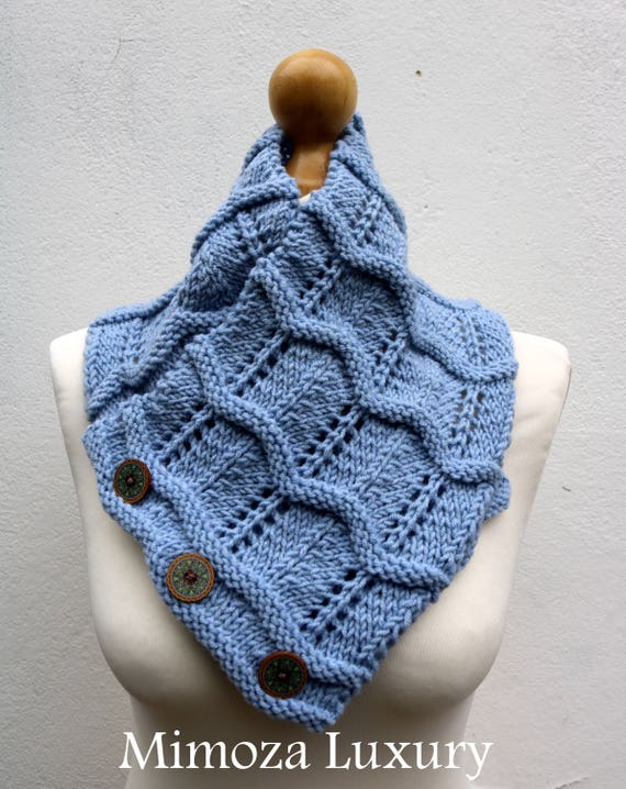 Light Blue Merino Wool Hand Knitted Scarf, Knit scarf wrap light blue Scarf, Shawl, Wrap, Neck warmer, knit scarf, blue women's knit scarf