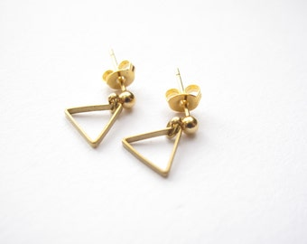 Gold Triangle Studs // Tiny Gold Stud Earrings // Simple, Everyday, Minimalist Jewelry // Gift