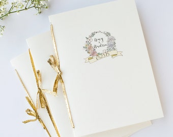 Illustrated Wedding Program | Custom Hand Drawn Order of Service Booklet or Single-Sided Card