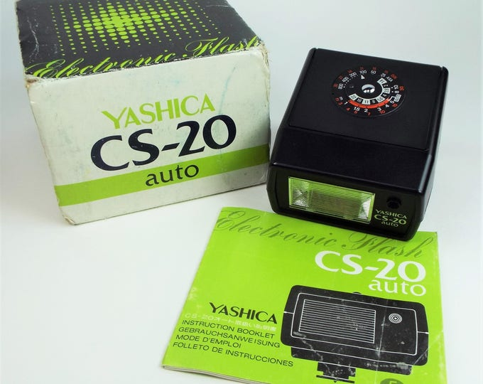 Yashica CS-20 Automatic Electronic Flash for Camera - Strobe - with Original Box & Instructions - 100% Tested - Fully Working Super Clean