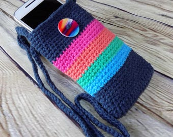 Rainbow Colors Crocheted Cell Phone Tote