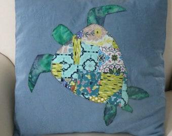 Crazy quilt sea turtle pillow cover