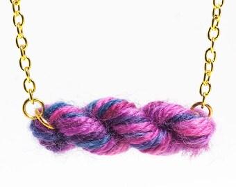 Purple Berries Skein of Yarn Necklace