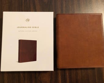 PERSONALIZED ** ESV Journaling Bible - Brown Natural Genuine Leather ** Custom Imprinted