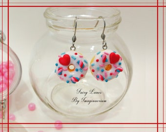Earring donut deco and white candy heart sprinkles