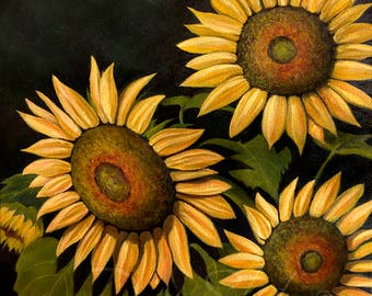 Sunflowers, Yellow Sunflowers, Pretty Sunflowers Signed Art Print