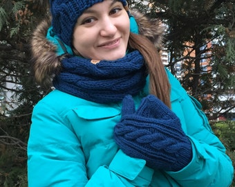 Women's Knit Hat, Scarf and Mittens / Winter Navy Knit Set / Hand Knit Wool Hat, Snood and Mittens