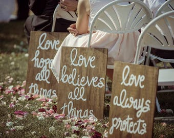 Wedding Ceremony Signs, Corinthians, Love is Patient, Aisle Decor, Aisle Signs, Boho Wedding, Custom, Wood Wedding Signs, Made to Order