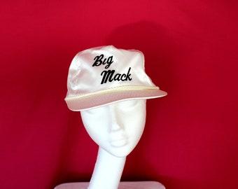 Vintage 80s Satin Big Mac Baseball Cap. Retro White And Black Snapback Big Mack Baseball Cap. 80s Hip Hop Swag Dope Satin White Hat.