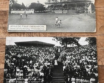 Antique Baseball Postcard Athletic Field Hershey PA Park Chocolate Sports Card Lot of 2 Card Sports Jersey Chocolate Field Crowd Photo
