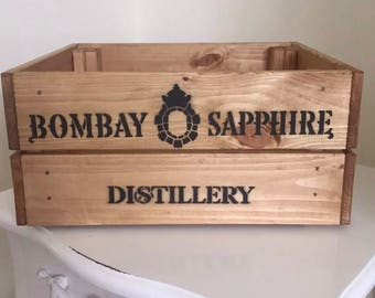 Vintage Style Wooden Bombay Sapphire Gin Champagne Wine Crate Box Storage Hamper Home Gift Christmas
