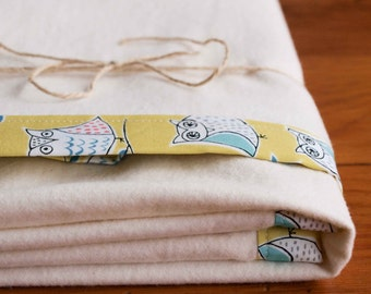 Owl Baby Blanket, Organic Cotton Receiving Blanket, Yellow and Ivory Flannel Swaddling Blanket Gift, Modern Woodland Baby Gift; HOOTENANNY