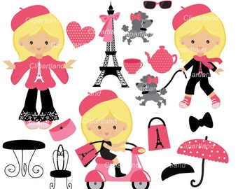INSTANT Download.   French girl clipart. CP_15_Paris. Personal and commercial use.