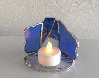 LED Candle holder Blue glass Bay View