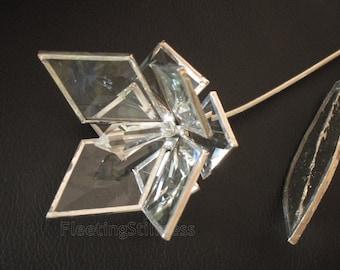 Flower Bevel Glass Stained Glass Flower Wedding Proposal 3D Love Handmade OOAK 8p