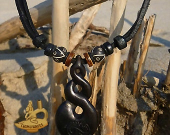 Surfer Necklace Tribal Twist Leather Surfer Chain New Zealand Handmade ©HIMUWAVESde