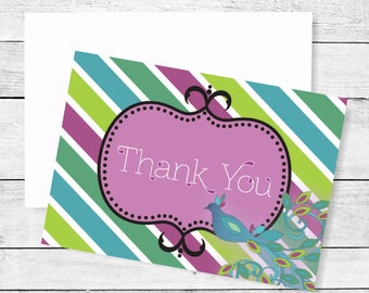 Peacock Striped Thank You Note Cards Package of 10