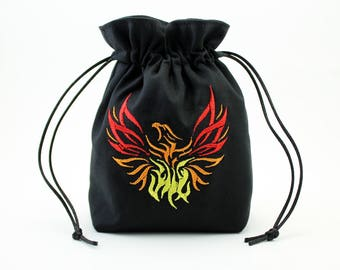 Phoenix Firebird Dice Bag, Drawstring Bag
