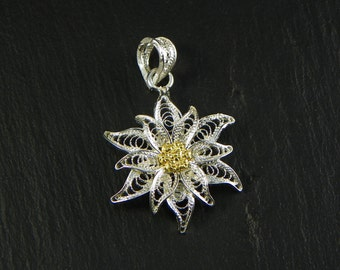 Edelweiss Pendant , Silver filigree made in Italy