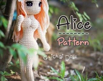 Alice Pattern, With Bikini and Green Dress, Crochet Doll Pattern - Alice (Guichai Dolls Pattern, Amigurumi, Photo tutorial)